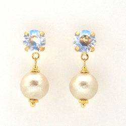 Moon light Swarovski crystal and light beige Japanese cotton pearl earrings