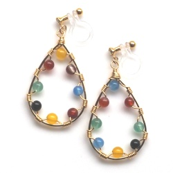 "<img src=""multicolor-agate-gold-hoop-dangle-invisible-clip-on-earrings7.jpg"" alt=""pierced look and comfortable dangle multi color agate gemstone invisible clip on earrings""/>"