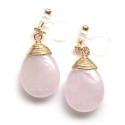 "<img src=""pierced-look-teardrop-pink-rose-quartz-gemstone-invisible-clip-on-earrings9.jpg"" alt=""Pink quartz gemstone invisible clip on earrings""/>"