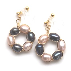 """<img src=""""pink-and-black-freshwater-pearl-circle-invisible-clip-on-earrings8.jpg"""" alt=""""pierced look and comfortable navy and pink freshwater pearl invisible clip on earrings""""/>"""