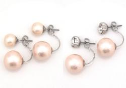 Pink double Japanese cotton pearl earrings_Susupension Pearl earrings_MiyabiGrace (5)