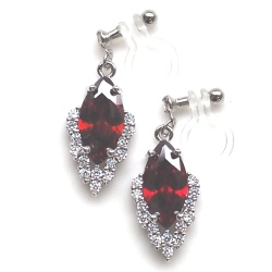 """<img src=""""red-cz-crystal-cubic-zirconia-diamond-wedding-invisible-clip-on-earrings7.jpg"""" alt=""""pierced look and comfortable dangle red ruby cubic zirconia invisible clip on earrings""""/>"""