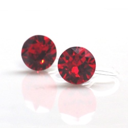Ruby red siam swarovski crystal invisible clip on earrings