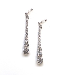 Bridal Gradated Rhinestone and Crystal silver invisible clip on earrings