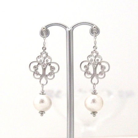 Silver rococo style cotton pearl invisible clip on earrings