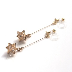 Dangle Crystal in Gold Star Invisible Clip On Earrings