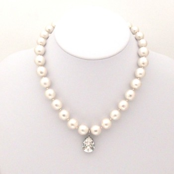 White Japanese cotton pearl and teardrop clear Swarovski crystal charm nekclace