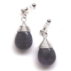 """<img src=""""/teardrop-purple-amethyst-gemstone-invisible-clip-on-earrings-miyabigrace9.jpg"""" alt=""""Pierced look and comfortable Teardrop purple amethyst invisible clip on earrings""""/>"""