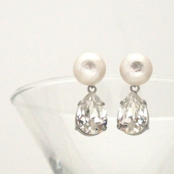 White Japanese cotton pearl and teardrop clear Swarovski crystal earrings