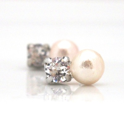 Totally Invisible clip on earrings: Swarovski crystal and pink Japanese cotton pearl clip on earrings