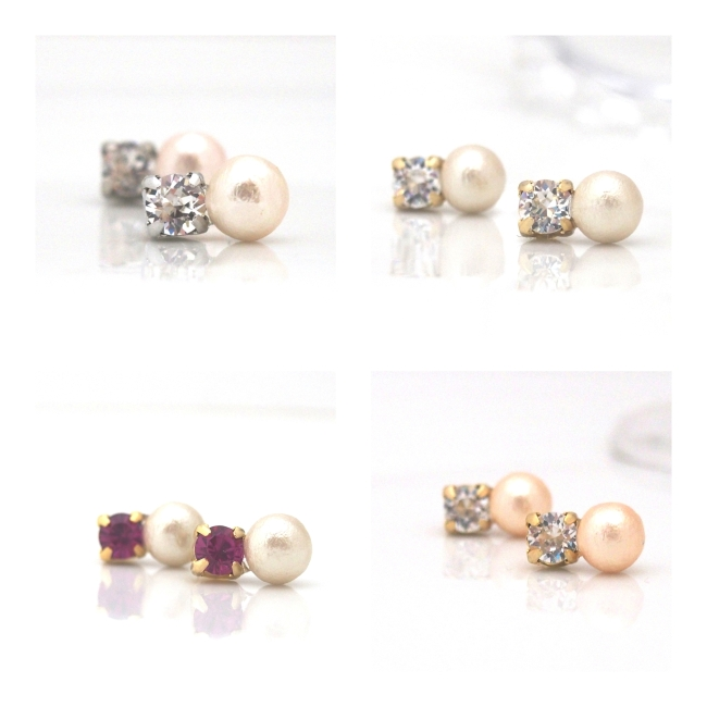 Totally invisible_Swarovski crystal and Japanese cotton pearl invisible clip on earrings6