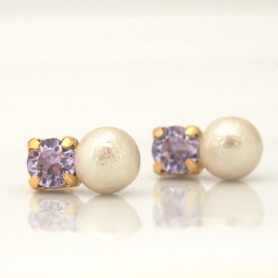 Totally invisible clip on earrings, violet swarovski crystal and cotton pearl clip on earrings