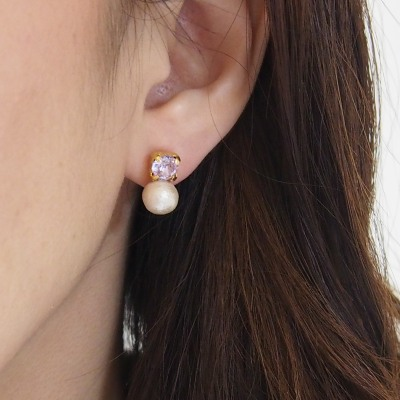 Invisible clip on earrings, violet swarovski crystal and cotton pearl clip on earrings