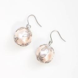 Veil:Silver Veil & Pink Cotton Pearl Titanium Earrings for Sensitive Ears, Hypoallergenic Bridal Pearl Earrings, Wedding Pearl Earrings