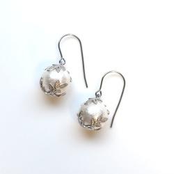 Veil: Classy White Japanese Cotton Pearl Earrings, Titanium Earrings for Sensitive Ears, Bridal Pearl earrings, Wedding Pearl Earrings