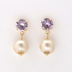 Violet Swarovski crystal and light beige Japanese cotton pearl earrings