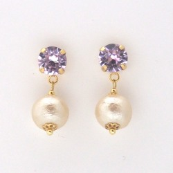 Violet Swarovski crystal and light beige Japanese cotton pearl earrings