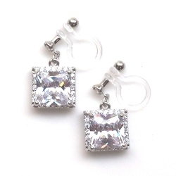 "<img src=""wedding-square-cz-crystal-cubic-zirconia-invisible-clip-on-earrings-91.jpg"" alt=""pierced look and comfortable Wedding bridal square cubic zirconia cz crystal diamond invisible clip on earrings""/>"
