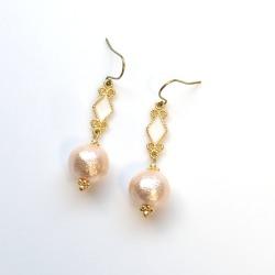 Diamond motif & Light Orange Japanese Cotton Pearl earrings, Titanium Earrings for Sensitive Ears,Bridal Earrings, Hypoallergenic Earrings