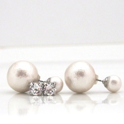 White double Japanese cotton pearl earrings