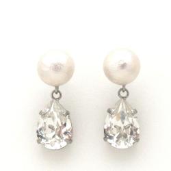 White Japanese cotton pearl and Swarovski teardrop crystal earrings