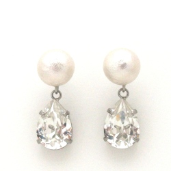 White Japanese cotton pearl and Swarovski teardrop crystal earrings