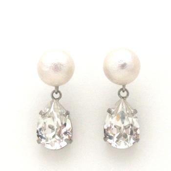 Japanese cotton pearl and teardrop swarovski crystal earrings