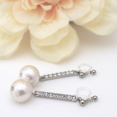 Crystal and white Japanese cotton pearl invisible clip on earrings