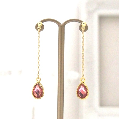 Rose crystal invisible clip on earrings