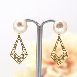 gold art deco style Japanese cotton pearl earrings_MiyabiGrace1