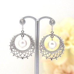 Silver Circle Motif and White Japanese Cotton Pearl Invisible Clip on Earrings1