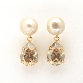 Cotton pearl and teardrop golden shadow Swarovski crystal earrings