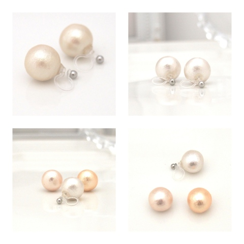 Japanese cotton pearl invisible clip on earrings2