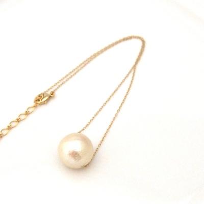 Large 18 mm Light beige cotton pearl pendant