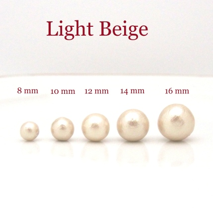 Japanese cotton pearl stud earrings 8 mm 10 mm 12 mm 14 mm 16 mm