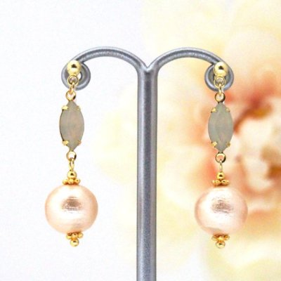 Marquise Crystal and Japanese Light Orange Cotton Pearl Invisible Clip on Earrings1