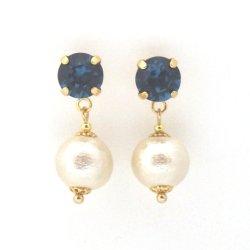 Montana Swarovski crystal and Japanese cotton pearl earrings2