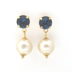 Montana Swarovski crystal and Japanese cotton pearl earrings2