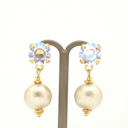 """<img src=""""dangle-silver-crystal-and-white-cotton-pearl-invisible-clip-on-earrings-non-pierced-earrings"""" alt=""""pierced look and comfortable Wedding bridal Moon light Swarovski crystal and light beige Japanese cotton pearl invisible clip on earrings""""/>"""