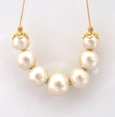 Princess style light beige japanese cotton pearl necklace miyabigrace 1