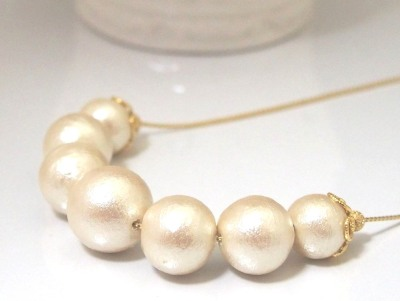 Princess style light beige Japanese cotton pearl necklace_MiyabiGrace (2)