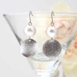 Shiny silver tone round plate and Japanese cotton pearl earrings