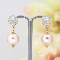 "<img src=""swarovski-and-cotton-pearl-clip-on-earrings-1.jpg"" alt=""pierced look and comfortable Wedding bridal White opal Swarovski crystal and pink Japanese cotton pearl invisible clip on earrings non pierced earrings""/>"