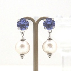 "<img src=""tanzanite-swarovski-crystal-cotton-pearl-invisible-clip-on-earrings-2.jpg"" alt=""pierced look and comfortable Wedding bridal Tanzanite swaorovski crystal and white Japanese cotton pearl invisible clip on earrings non pierced earrings""/>"