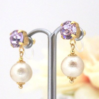 Violet Swarovski Crystal and Light beige Japanese invisible clip on earrings_MiyabiGrace (1)