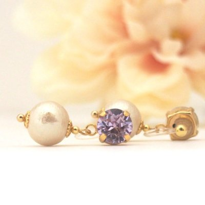 Violet Swarovski Crystal and Light beige Japanese invisible clip on earrings_MiyabiGrace (2)