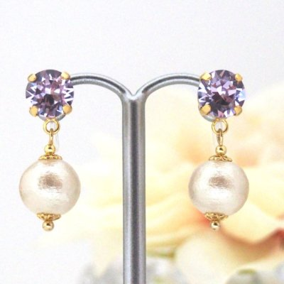 Violet Swarovski Crystal and Light beige Japanese invisible clip on earrings_MiyabiGrace (4)