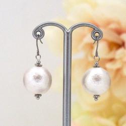 White Japanese cotton pearl earrings