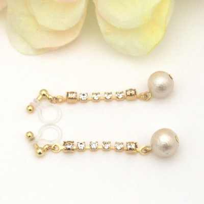 Crystal and light beige Japanese cotton pearl invisible clip on earrings