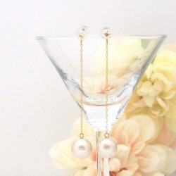 Crystal and light beige Japanese cotton pearl earrings